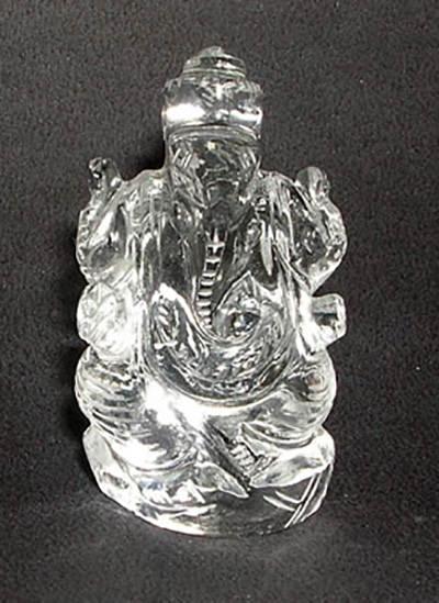 36 Gms Clear Quartz Crystal Ganesha Image