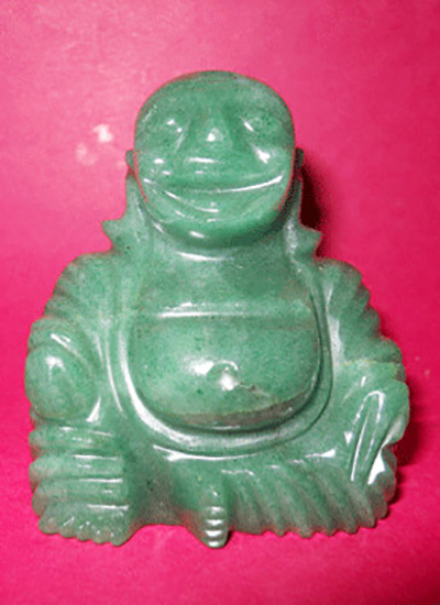 Green Aventurine Laughing Buddha Image