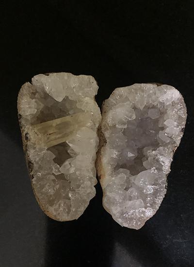 Quartz crystal geode with calcite Image