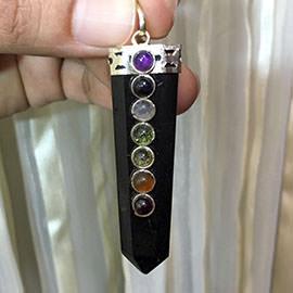 7 Chakra Black Tourmaline Flat Pendant Image
